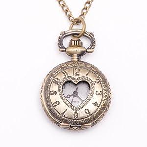 Collana vintage in ottone, orologio da tasca, cuore, catena lunga from 81stgeneration