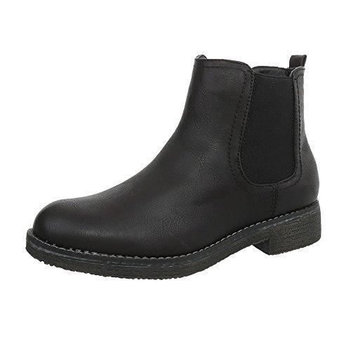 Ital-Design Chelsea Boots Damen-Schuhe Blockabsatz Stiefeletten Schwarz, Gr 40, 547-Pa-