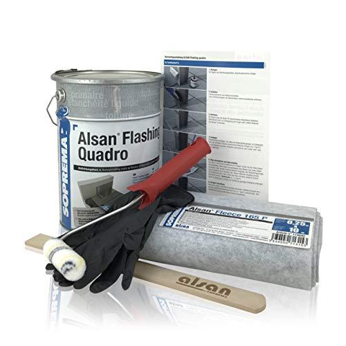 ALSAN Flashing Quadro - PROFI PACK - Komplettset • 5,0 kg Flüssigkunststoff • 1 Rolle Alsan Vlies • 1 Paar Handschuhe • 1 Rührholz • 1 Farbwalze • Verlegeanleitung | Farbe RAL 7012 - basaltgrau