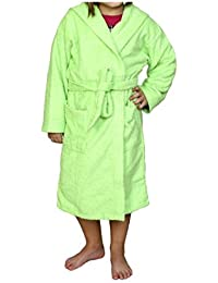 Albornoz Infantil, Rizo, 100% algodón, Verde.