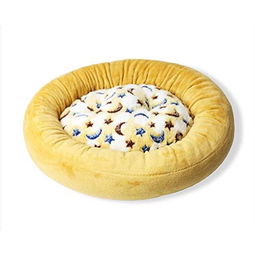 Donut-Katzen-Hundebett tragbares aufgefülltes Matratzen-Buffet-warmes waschbares (Farbe : Gelb, größe : 18.89''x 17.32''x 3.14'') -