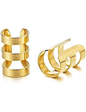 2 Stück Gold Farbe Ohr Clip-on Creolen mit für Herren Damen, Edelstahl Ohr Manschette Ohrringe, Fake Piercing