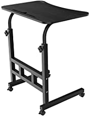 Gizga Essentials Multipurpose Bedside Rolling Table With Adjustable height For laptop, Computer & Study Desk (Black)