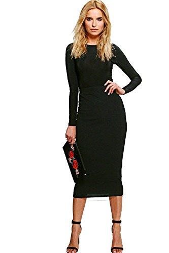 Noir Femmes Black Womens Alia Slinky Bodysuit & Texture Midi Co-Ord Noir