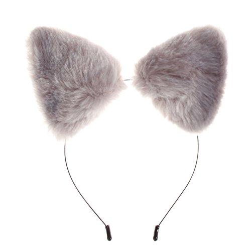 Kostüm Fox Grey - Slibrat Mode mädchen niedlich Katze Fuchs Ohren Fell Stirnband Cosplay Party kostüm grau