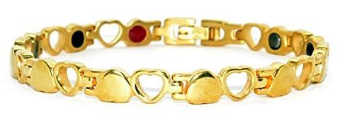 Titan Damen Armband zur Schmerzlinderung, Magnettherapie-Schmuck mit Herz-Design, inklusive Germanium- und Ferninfrarot-Einsätzen
