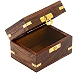 Premium Giftz caja joyero/Joyero de madera handcarved (9x 6x 6, cm, marrón)