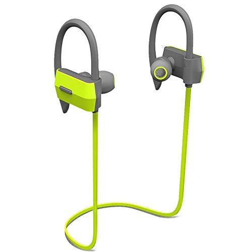 Cuffie Stereo Sport, SEGURO SP-1 Auricolari Bluetooth 4.1 con Microfono Incorporato IPX4 vestibilità sicura esecuzione di esercitazione di ginnastica Compatibili con Smartphone e Tablet iOS/Android - Verde