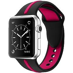 Correa de repuesto para reloj Apple, Solomo [serie deportiva] moderna suave, duradera, de silicona, color a rayas, estilo unisex, para iWatch Apple, Nike+, series 3 / 2 / 1