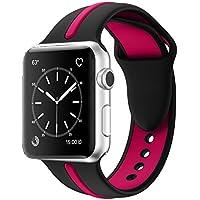 Apple Watch Armband, Solomo [Sport Series] Mode iWatch Strap Weiche Durable Silikon Ersatz Streifen Farbe Spleißen Stil mit Frauen / Männer Armband für Apple Watch Nike +, Serie 3 /2 /1 (38MM, Rose)