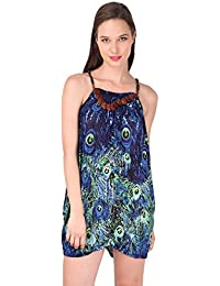 Peacock Print Bohemia Strap Dress- Green