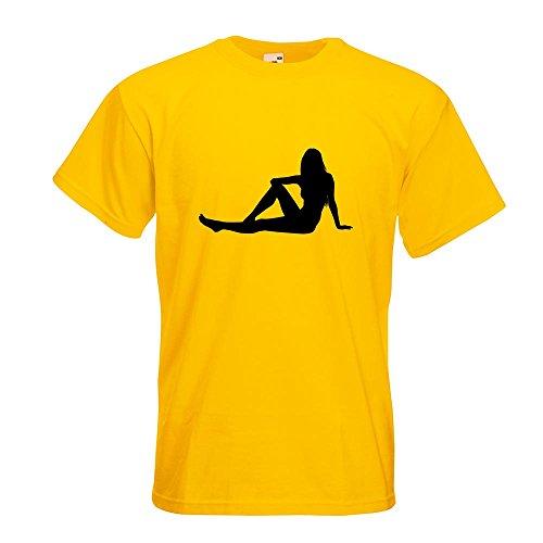 KIWISTAR - sexy Girl sitzend T-Shirt in 15 verschiedenen Farben - Herren Funshirt bedruckt Design Sprüche Spruch Motive Oberteil Baumwolle Print Größe S M L XL XXL Gelb