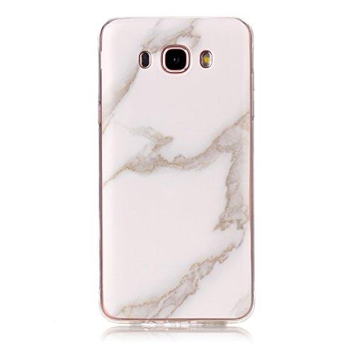Cozy Hut Für Samsung Galaxy J7 2016 Handyhülle mit Marmor / Marble Design(weiß / grau) | Handytasche | | Schale | | Hülle | | Case | Handy-etui | TPU-Bumper | Soft Case | Schutzhülle Cover für den optimalen Schutz ihres Samsung Galaxy J7 2016(SM-J710) 5,5 Zoll - Jade weißer Marmor