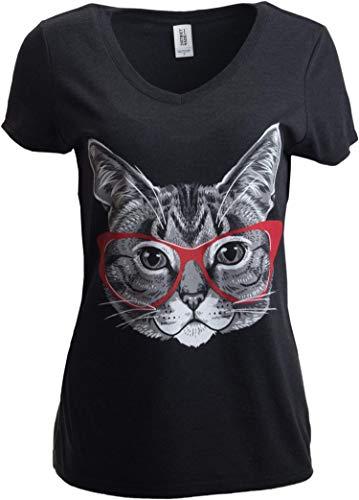 Katzenmotiv - lustiges Shirt mit süßem, frechem Kätzchen mit roter Linda-Belcher-Brille - V-Ausschnitt Damen T-Shirt-Vneck,M