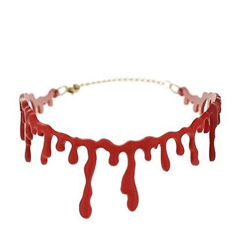 Halloween-Halskette, Schreckliche Blutige Narbe Halskette, Rote Nachahmung Blut, Für Vampir, Halloween-Party, Cosplay Kostüm (4 Stück)