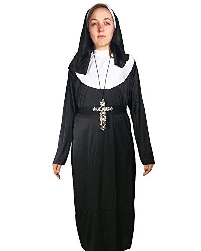 Costume da prete Habit trascrizione-Costume per travestimento da suora, Donna, taglia unica, 12 pezzi
