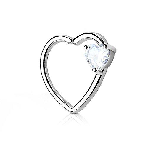 Lippenpiercing Stecker Silber Farben mit Herz