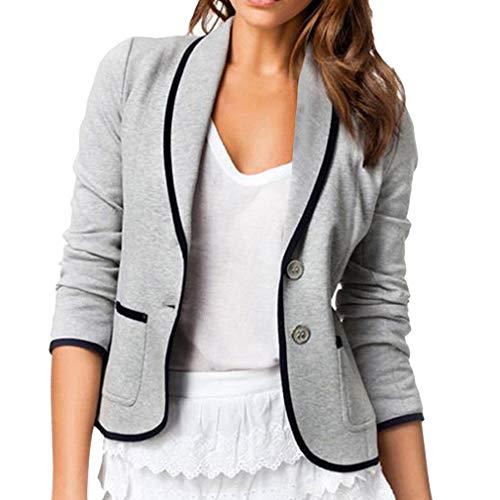 Slim Fit Blazer für Damen Frauen Langen Ärmeln Umlegekragen Anzug Mantel mit Taschen Elegante Einfarbig Kurzjacke Oberbekleidung für Geschäft Arbeit Formale Gelegenheit S-6XL