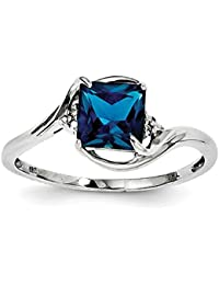 Sterling Silver Rhodium Plated Diamond and London Blue Topaz Ring - Ring Size Options Range: L to R