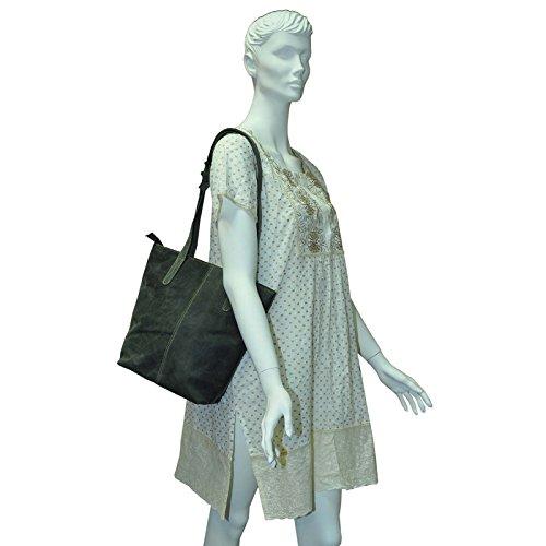 Echt Leder Shopper Tasche Handtasche 5 Farben Vintage Schultertasche Neu - MU202 Schwarz Vintage
