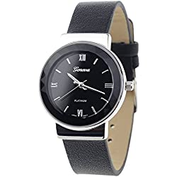 Geneva Japanese Movement Stainless Steel Back Casual Black Faux Leather Strap Watch