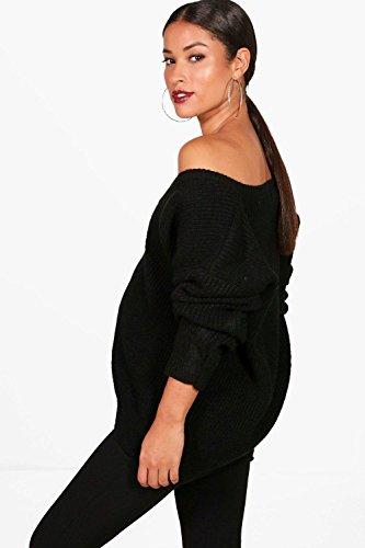 Noir Femmes Lola pull de grossesse surdimensionné col V Noir