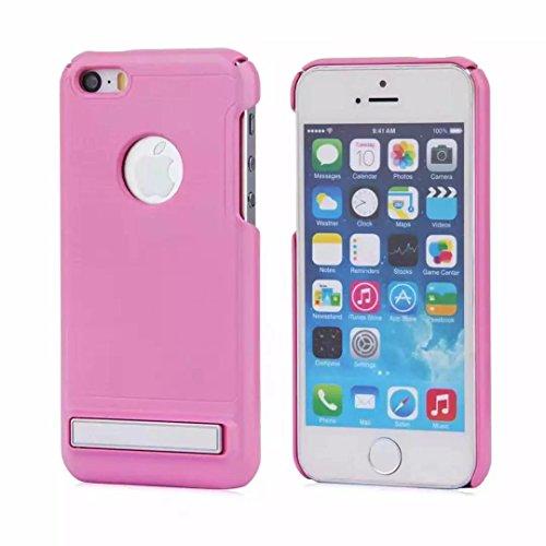"""iPhone 7 Hülle,Lantier Brushed Metal Texture Design Slim Fit Dual Layer Schroff Schlagfest Beschützer Cover mit Kickstand für iPhone 7 4.7"""" Silber Brushed Texture Pink"""