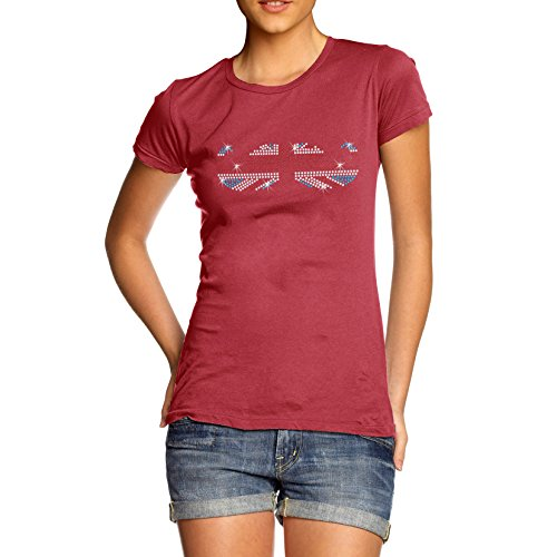 TWISTED ENVY Damen Union Jack Schnurrbart Strass mit Baumwolle T-Shirt Gr. Large, Rot (Jack Flag Art-union T-shirt)