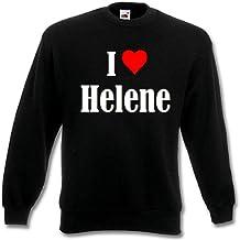 """Sweat Shirt Sweater Pull """"I Love Helene"""" pour les femmes et les enfants ... dans les couleurs noir et blanc et bleu avec surcharge"""