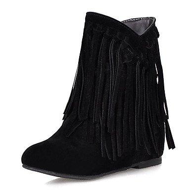 JOE Bottes femmes bottes de neige l'hiver / Round Toe robe Wedge talon Tassel noir / marron / jaune / Beige d'autres Black