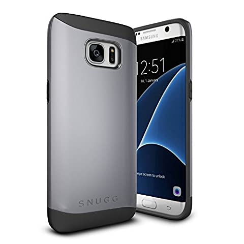 Coque Galaxy S7 Edge, Snugg Samsung Galaxy S7 Edge Double Couche Case Housse Silicone [Bouclier Légère] Etui de Protection – Gris, Infinity Series