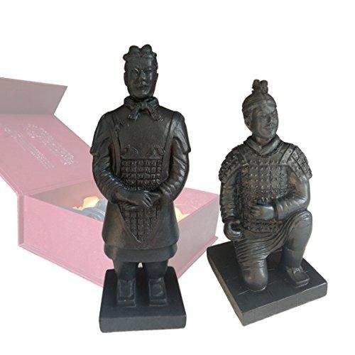 Kunstharz Terrakotta-Krieger (Set von 2) Geschenk-Box, China, Qin Dynasty Terra Cotta Warriors Skulptur Skulptur aus Kunstharz Home Display Bonsai Tisch Geschenk-Box, 14cm hoch