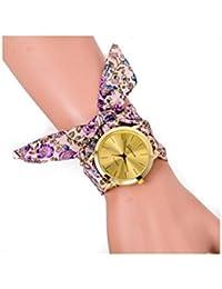 Reloj de pulsera - GENEVA Reloj de pulsera de banda de bufanda de puntos para mujeres de flor de color purpura