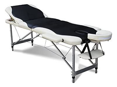 FoxHunter Luxury Portable Lightweight Massage Table Beauty Couch Therapy Bed Folded 3 Section Aluminium Frame Black White with Headrest Armsupport Carrying Bag - low-cost UK light store.