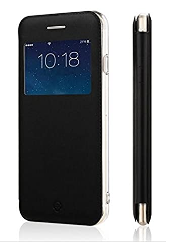 Coque Etui Pochette Folio Housse Fenêtre Noir Samsung Galaxy A5 (SM-A500) - Contour intérieur silicone incassable