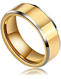 Daesar Joyería Anillo Acero de Tungsteno Hombre Alianza con Acabado Cepillado y Pulido de Ajuste Cómodo Plata Oro