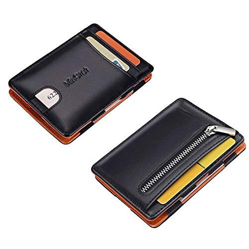 Hommes RFID cuir véritable ID Card Holder Money Clip portefeuille avec porte-clés noir