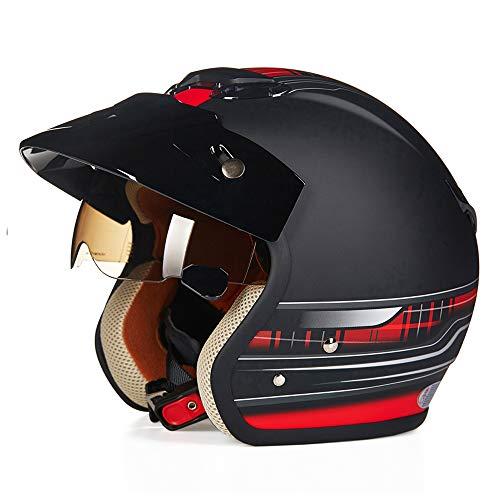 YGFS Harley Motorrad 3/4 Helm Vier Jahreszeiten Männer Und Frauen Halb Bedeckt Sicherheit Retro Motorrad Motorrad Halbhelm (dumm Schwarz Rot)