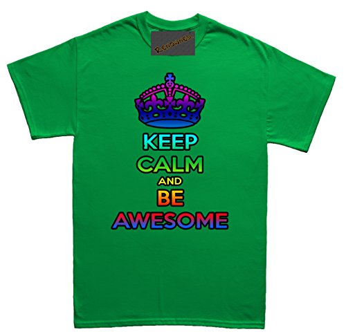 Renowned Keep calm and be awesome Herren T Shirt Grün