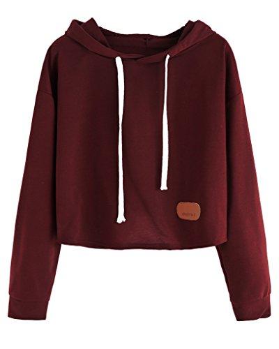 Minetom Donne Casuale Girocollo Alien Stampa Cropped Felpa Manica Lunga Pullover Felpa con cappuccio Maniche lunghe Vino Rosso Sweatershirt