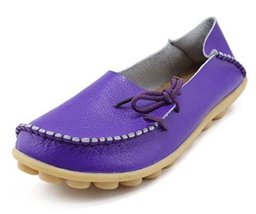LEIT YFF Femme Chaussures Plates Occasionnels Lace-Up Chaussures en Cuir Véritable purple