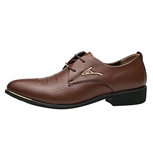 Hombre Negocio Zapatos Formal Zapatos con Cordones Boda Vestir Zapatos Casual PU Cuero Zapatos Café 45 Juleya