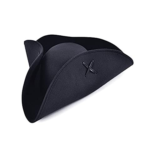Pirate Adult Hat - ADULT BLACK PIRATE TRICORN WOOL FELT HAT