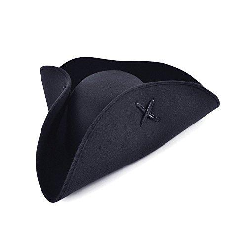 Bristol Novelty bh653Pirat Dreispitz Hut schwarz Wollfilz, One size (Schwarzen Mantel-und-degen-piraten)