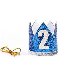 Corona redonda de lentejuelas con banda elástica pequeña brillante y diadema para fiesta de cumpleaños de