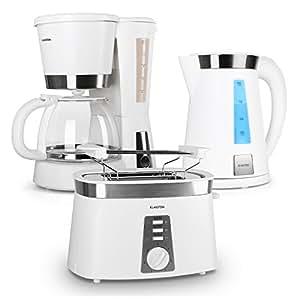 Klarstein Sunday Morning Frühstücksset 3 in 1 Wasserkocher Toaster Kaffeemaschine Set (2 Scheiben Toaster mit Brötchenausatz, LED Wasserkocher 1,7L, 1,5L Kaffeemaschine mit Glaskanne) weiß