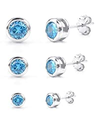 KONOV Schmuck Zirkonia Diamant 925 Sterling Silber Damen-Ohrringe, 3 Paare(6pcs) 2-4mm Kreis Ohrstecker, Blau Silber