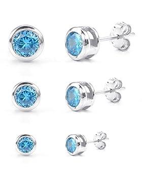 KONOV Schmuck Zirkonia Diamant 925 Sterling Silber Damen-Ohrringe, 3 Paare(6pcs) 2-4mm Kreis Ohrstecker, Blau...