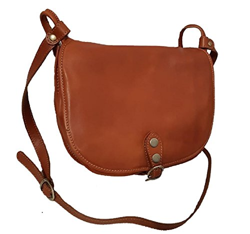 Borsa Donna a spalla in vera pelle made in Italy BC905 Cognac