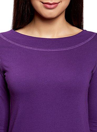 oodji Collection Donna T-Shirt con Maniche a 3/4 Viola (8800N)